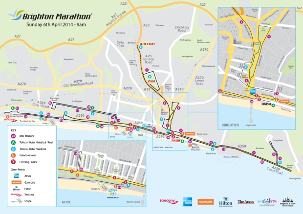 Brighton Marathon Course Map 2014
